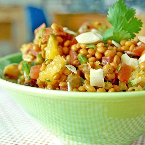 Salade de lentilles ensoleillée