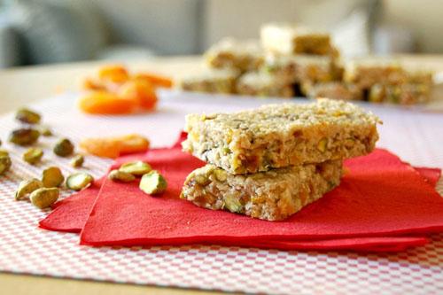 Barres sans cuisson pistache-abricot