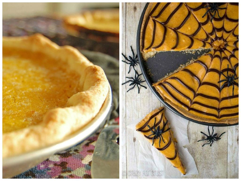 Si vous choisissez de faire la tarte à la citrouille, il y a une recette sur le blogue (gauche) qu'on peut décorer en toile d'araignée tel que suggéré à droite @www.gleamitup.com