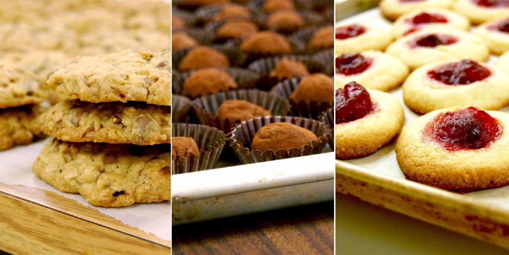 Galettes avoine chocolat, truffes et biscuits à la confiture