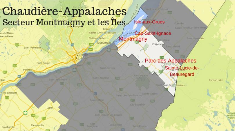 carte Montmagny et les Îles
