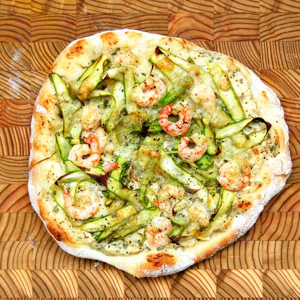 pizza aux asperges et crevettes