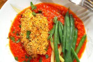 Croquettes de poisson, sauce romesco