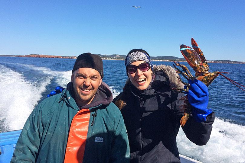 Julie Aubé à la pêche au homard avec Kaven Aucoin