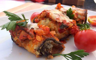 Rouleaux d'aubergines aux tomates et au fromage